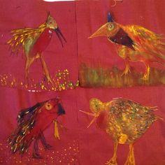 Birds textiel piqué libre acryl