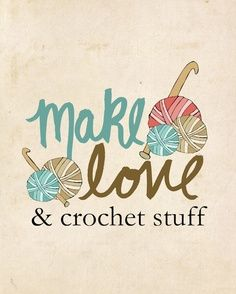 And Crochet Stuff // Typographic Print Illustration by LisaBarbero Love Crochet, Crochet Crafts, Crochet Yarn, Crochet Stitches, Crochet Projects, Crochet Patterns, Knitting Humor, Crochet Humor, Needlework