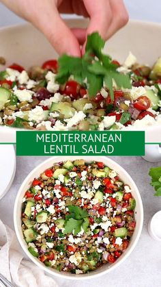 This Mediterranean Lentil Salad is a hearty salad that's perfect for lunch, a side dish or even a vegetarian main dish. Full of cucumbers, tomatoes, olives, feta and protein packed lentils. You'll absolutely love the flavors and textures in this healthy salad! #salad #mediterranean #mediterraneandiet #lentils #vegetarian #glutenfree #healthyrecipe Lentil Salad Recipes, Best Salad Recipes, Whole Food Recipes, Vegetarian Main Dishes, Vegetarian Recipes, Healthy Recipes, Easy Salads, Easy Meals, Easy Appetizer Recipes