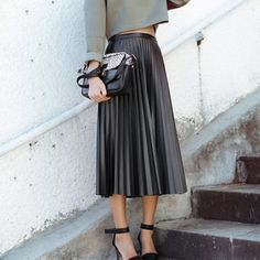 Female New Faux Leather Casual Pleated Long Skirt Flared Skater Black Midiskirt   Clothing, Shoes & Accessories, Women's Clothing, Skirts   eBay!