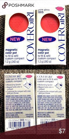 Cover Girl Magnetic Refill Pure Gloss 005 Bundle of 2 refills 005 pure gloss to fill and refill custom compact. Cover Girl Makeup, French Nail Art, Spring Makeup, Face Facial, Maybelline, Nyx, Makeup Brands, Facial Cleanser, Korean Skincare
