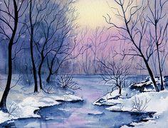 """Landscape Painting Watercolor. Title: """" Winter Light """" by Brenda Owen"""