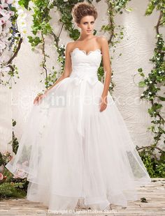 Two-In-One A-line Princess Sweetheart Floor-length Tulle Wedding Dress - USD $ 499.99!?