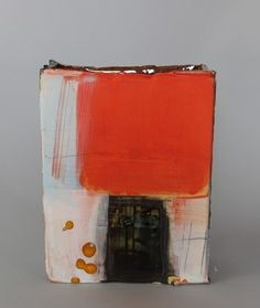 'Vessel with Orange' - Inspired by mark-making and painting, he takes a relaxed, direct approach. He aims to create a sense of drama that is fresh and exciting, exploring vibrant colour compositions and exploiting the gestural qualities of fluid brush marks and soft clay. His ceramics are made with red earthenware clay and are usually wheel thrown and altered, or constructed from soft slabs and then painted with coloured slips, stains, oxides and glaze. - www.kelliemillerarts.com