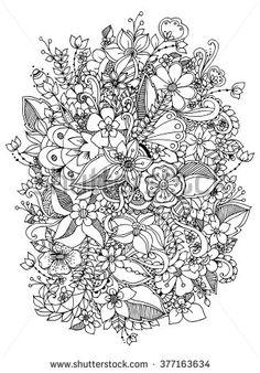Vector illustration of flowers zentangl, doodle, zenart, pattern. Pattern Coloring Pages, Adult Coloring Book Pages, Cute Coloring Pages, Flower Coloring Pages, Coloring Sheets, Coloring Books, Floral Embroidery Patterns, Doodle Designs, Flower Doodles