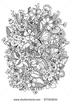 Vector illustration of flowers zentangl, doodle, zenart, pattern. Black and white. Adult coloring books. - stock vector