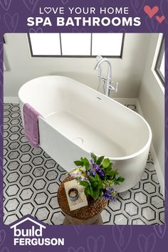 You deserve a little pampering! Choose the lighting, flooring, and fixtures you love to make every day a spa day. Everything you need for your bathroom remodel can be found in one place. Bathroom Spa, Bathroom Renos, Bathroom Flooring, Master Bathroom, Bathroom Ideas, Narrow Bathroom, Master Room, Bathroom Goals, Bathroom Colors