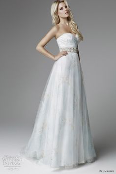 blumarine 2013 bridal collection light pale blue printed wedding dress