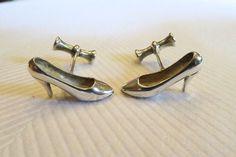Vintage Sterling Silver Womens High Heel Shoe Cufflinks 9.7