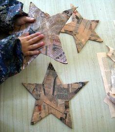 paper mache stars, paint, paper collage, photos...