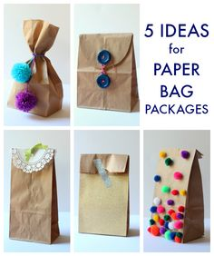 5 Cheap and Awesome Brown Paper Bag Party Favor Package Ideas! Just in time for the holidays!!