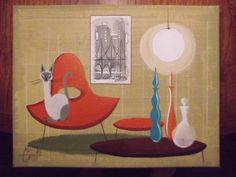 EL GATO GOMEZ PAINTING RETRO MID CENTURY MODERN EAMES SIAMESE CAT BLENKO GLASS  #Modernism