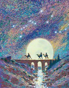 Sample of backdrop for mural Christmas Nativity, Noel Christmas, Xmas, Nativity Painting, We Three Kings, Prophetic Art, Three Wise Men, Christmas Paintings, Bible Art