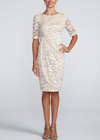 Bringfresh and sweet appeal to a classic silhouette, this ultra-feminine lace dress is a perfect addition to your collection!  All over lace bodice with 3/4 sleeves features flattering drape front.  This dress istotally comfortable and hits rightat the knee, perfect to dance in all night long.  Fully lined. No zipper. Imported polyester/spandex blend. Hand was cold.