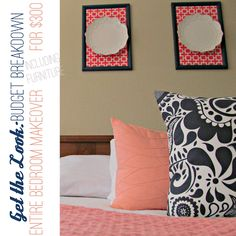 Get the Look: How to Decorate a Coral, Navy, and White Bedroom for $300! Great tips for finding furniture on Craigslist!