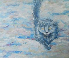 Kitty To the First Snow Wall Decor Cat on Snow Cat by FrozenLife