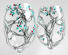Klimt Trees with Custom Colored Leaves - Set of 2 Hand Painted Wine Glasses - Black and White Trees