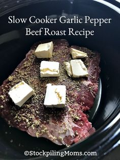 Slow Cooker Garlic Pepper Beef Roast Recipe is so easy with only three ingredients!
