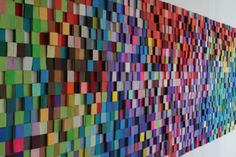 """Paint chip"" pixels could be a lot of fun. Acoustic Wall, Acoustic Panels, Wooden Wall Art, Wood Art, Wall Art Designs, Wall Design, Felt Wall Hanging, Interactive Walls, Learning Spaces"
