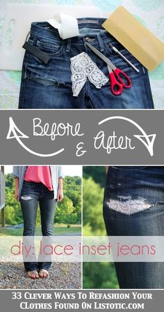 DIY Lace Inset Jeans. -- Have a rip or tear in your jeans? Patch it up with lace! Or, to get this look, use scissors to create a horizontal rip. There's very little sewing required, and instead of using a sewing machine, you could even create a sewing pattern by hand that would look really nice with the lace.
