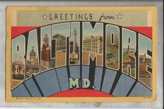 1954 large letter linen postcard BALTIMORE Maryland | eBay