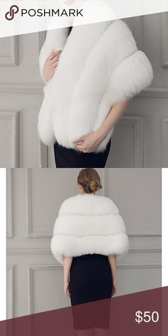 Faux fur white wrap white faux fur caplet sleeveless NWT Bust130cm-51 inches Length155cm- 61inches Height45cm- 18 inches Jackets & Coats Capes