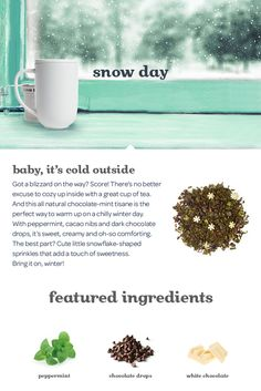 Snow Day - This all natural chocolate-mint tisane is the perfect way to warm up on a chilly day. Frozen Hot Chocolate, Mint Chocolate, Chocolate Chip Oatmeal, Snow Ice Cream, Sweet Popcorn, Davids Tea, Fruit Tea, Types Of Tea, How To Make Snow