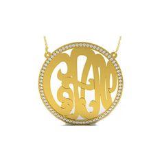14k gold & diamond monogram initial disc necklace