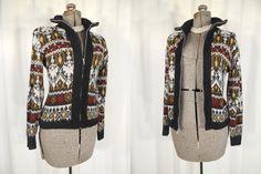 1950s Cardigan// 50s Sweater// Black White Zipper Front Cardigan// XL 18 by RockabillyRavenVtg on Etsy