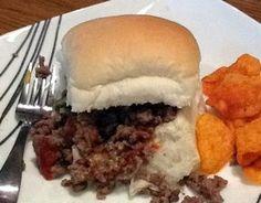 """""""Megs Maid Rites Recipe"""". ground beef, onion powder, chicken broth, s, mustard"""