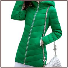 38.01$  Buy here - http://ali0qx.shopchina.info/go.php?t=32502487150 - Free shipping 2015 New Women Long Solid Thickened Thermal Slim Zippers Down Black Green Red Yellow Pink 7 Color Parkas with Hat 38.01$ #aliexpresschina