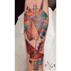 Incríveis exemplos de tatuagens com Origami para sua inspiração!   Ideia Quente