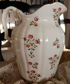 Minton Davis Callamore & Co Large Water Pitcher England Oxford Roses 1890's Rare Shabby Chic