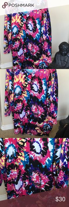 """JOSEPH A WOMAN Floral Cardigan Rayon Nylon SIZE 2X Beautiful multi colored happy fun Floral print Cardigan in Rayon Nylon Blend. Black violet pink red teak white yellow magenta... lovely black buttons 24 3/4"""" underarm to underarm.... 28 1/2"""" top of shoulder to bottom hem. size2X joseph A Tops"""