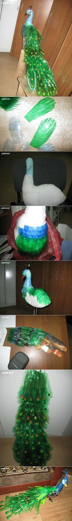 This Colorful Beautiful Peaaxcock from Plastic Bottles....3 Unique Plastic Bottles Recycling Ideas For Home Decor #DIYCrafts