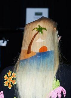 Stenciled hair. Julia Nobis at Emma Mulholland, SS '13 in Sydney, Australia