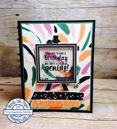 Handmade Shaker Birthday Card, Tina's Crop Shop, Stampin' Up Painter's Palette, Playful Palette DSP, Stamp, Ink, Paper Challenge, SIP Challenges