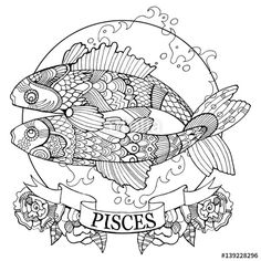 Pisces zodiac sign coloring page for adults | on Fotolia 139228296
