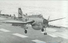 "british-eevee: "" Fairey Gannet coming in for a landing on a carrier (Date and location unknown) "" Military Jets, Military Aircraft, Hms Ark Royal, Airplane Drawing, Old Planes, Aviation Image, Royal Marines, Ww2 Aircraft, Navy Ships"