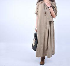 Women casual loose 100% linen maxi dress - Tkdress  - 3