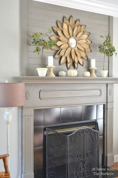 Fall Home Tour- At Home with The Barkers using painted pumpkins fall mantel Grey Fireplace, Fireplace Mantle, Fireplace Design, Basement Fireplace, Decorative Fireplace, Fireplace Screens, Fireplace Ideas, Living Room Remodel, Home Living Room
