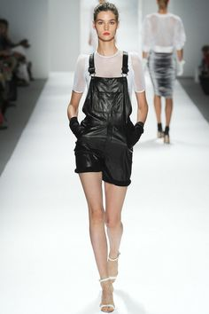 Milly | Look 19 | Overalls $995 http://www.shopbop.com/leather-shortalls-milly/vp/v=1/1500817995.htm?folderID=2534374302050290&fm=other-shopbysize-viewall&colorId=12867