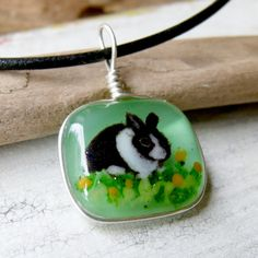 Bunny necklace   fused glass pendant by ArtoftheMoment on Etsy, $28.00