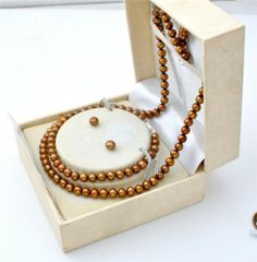 Vintage Brown Pearl Set Sterling Silver Necklace Bracelet Earrings Original Box | eBay
