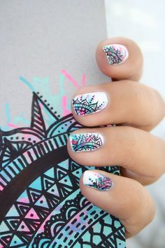 "Receive great pointers on ""top nail art designs"". They are accessible for you on our site. Pretty Nail Art, Cool Nail Art, Nail Ink, Jolie Nail Art, Mandala Nails, Mandala Art, Tribal Nails, Best Nail Art Designs, Top Nail"
