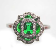 antique diamond and emerald ring - Google Search