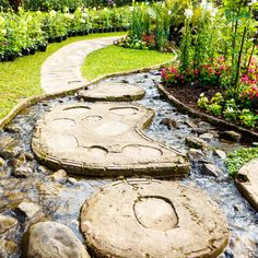 Landscape garden design. The path in the garden with pond in asian style.