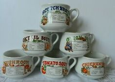 Set Of 6 Large Vintage Retro Soup Mugs Recipe Bowls Collectable Kitchenware Mug Recipes, Retro Recipes, Vintage Recipes, Serving Bowls With Lids, Recipe Bowls, Soup Bowl Set, Vintage Kitchenware, Soup Mugs, Slimming World Recipes