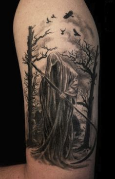 A lone and hauntingly disturbing Grim Reaper tattoo. The reaper walks along the woods with its scythe ready for another night of soul harvesting.