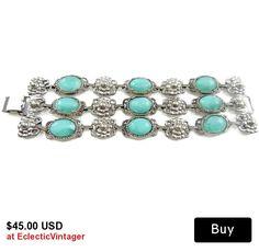 #vintagejewelry #threeerowbracelet #chunky3rows #turquoisecyanlucite